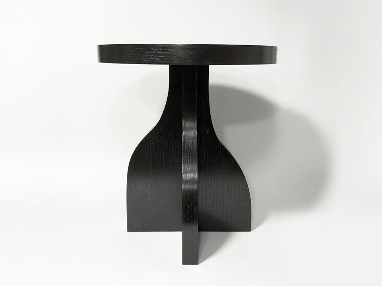 North American Round Ebonized Oak Side Table by Bronsin Ablon For Sale