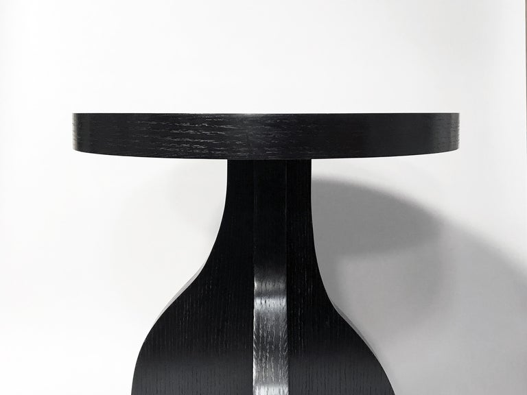 Blackened Round Ebonized Oak Side Table by Bronsin Ablon For Sale