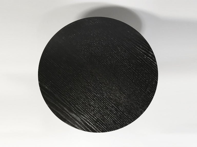 Round Ebonized Oak Side Table by Bronsin Ablon In New Condition For Sale In Brooklyn, NY
