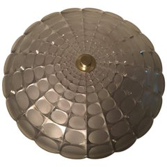 Round 1960s Glass Flushmount Chandelier, Germany, 1960s