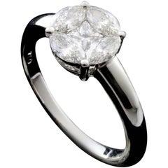 Round 2 Carat Illusion Bridal Solitaire Ring in 18 Karat Gold