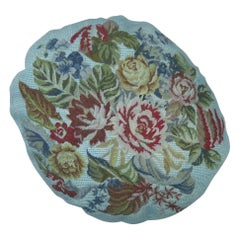 Round 20th Century Floral Blue Over-Dyed Portuguese Needlepoint Pillow