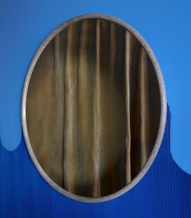 Modern Round White Oak Ring Mirror by Nicholas Hamilton Holmes For Sale