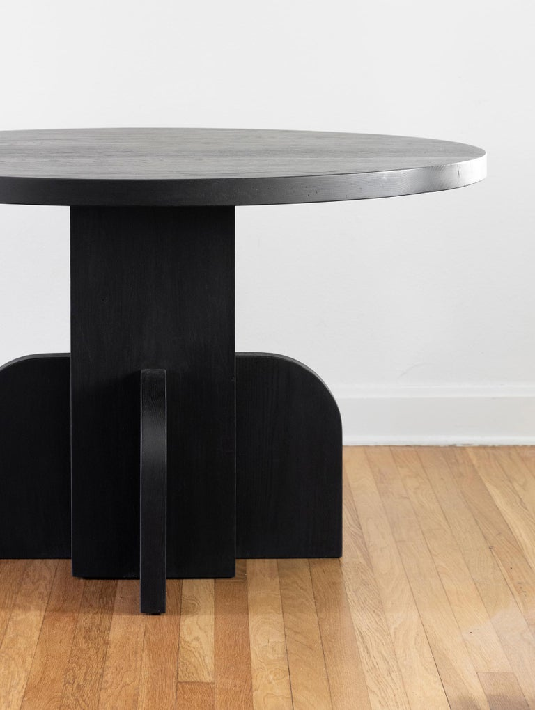 Modern Round Ratio Dining Table in Ebonized White Oak by Seer Studio For Sale