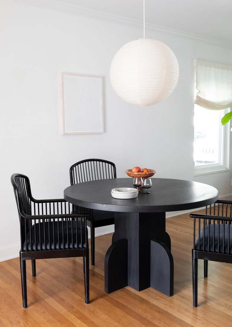 American Round Ratio Dining Table in Ebonized White Oak by Seer Studio For Sale