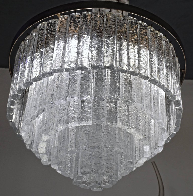 Round 5+1 Tiers Chandelier, Murano, Clear Glass 1990s, Bronze Finish Metal Ring For Sale 3