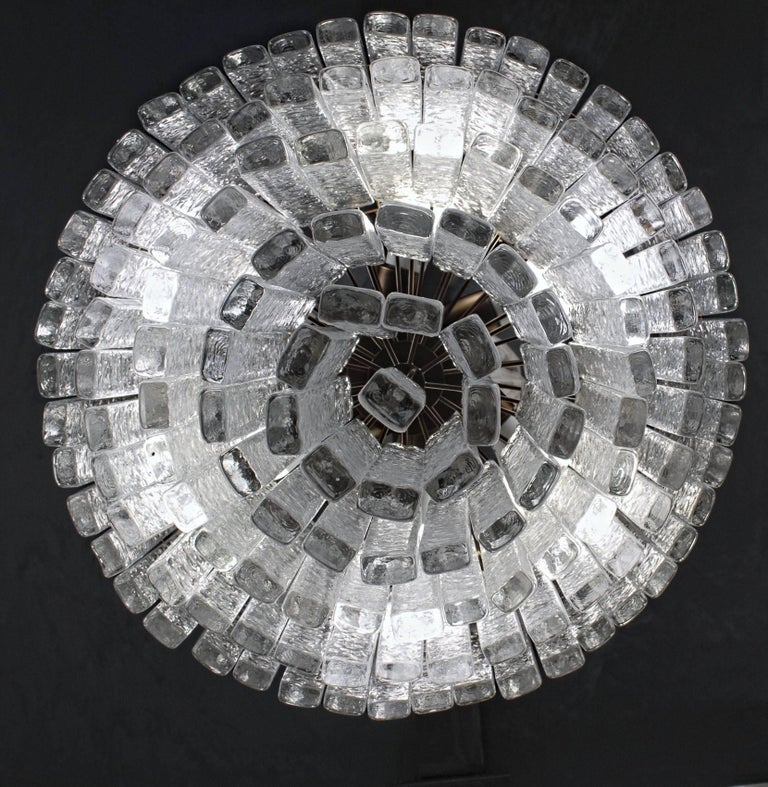 Round 5+1 Tiers Chandelier, Murano, Clear Glass 1990s, Bronze Finish Metal Ring For Sale 4