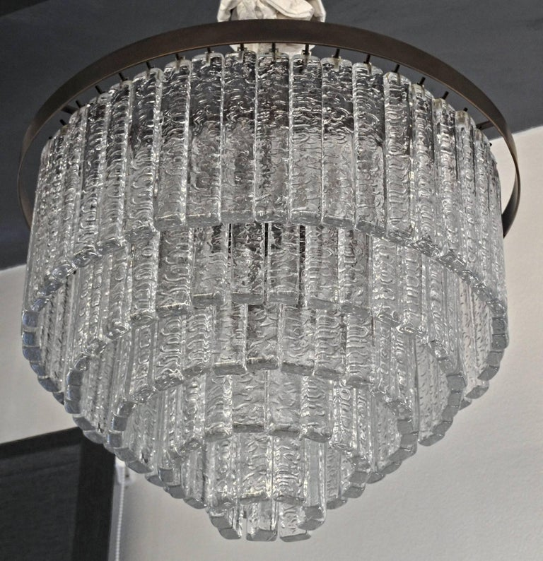 20th Century Round 5+1 Tiers Chandelier, Murano, Clear Glass 1990s, Bronze Finish Metal Ring For Sale