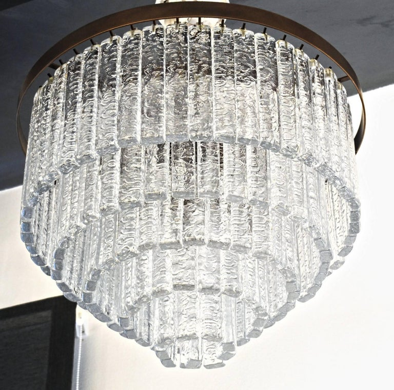 Round 5+1 Tiers Chandelier, Murano, Clear Glass 1990s, Bronze Finish Metal Ring For Sale 1