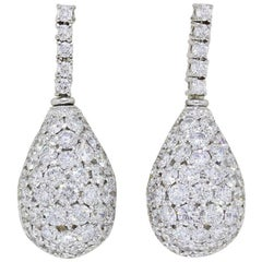 Round 6.50 Carat Diamond Pave Tear Drop Earrings in 18 Karat Gold Top Quality