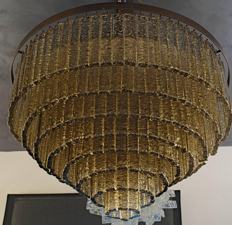 Round Nine Tiers Chandelier, 380 Murano Fume' Glass, 1990s, Metal Ring For Sale 5