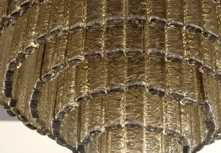 Round Nine Tiers Chandelier, 380 Murano Fume' Glass, 1990s, Metal Ring For Sale 7