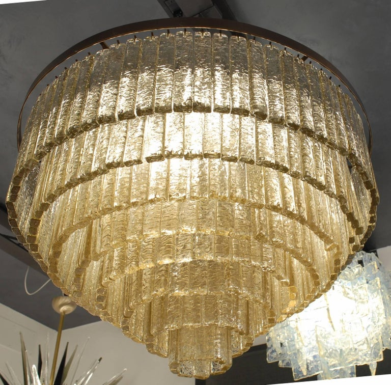 Round Nine Tiers Chandelier, 380 Murano Fume' Glass, 1990s, Metal Ring For Sale 8