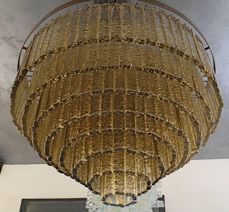 Round Nine Tiers Chandelier, 380 Murano Fume' Glass, 1990s, Metal Ring For Sale 9