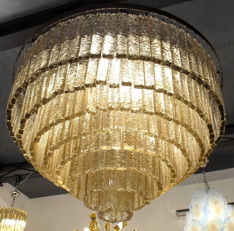 Round Nine Tiers Chandelier, 380 Murano Fume' Glass, 1990s, Metal Ring For Sale 13