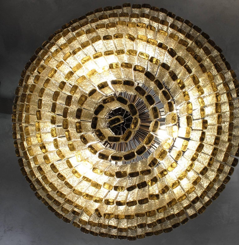 Mid-Century Modern Round Nine Tiers Chandelier, 380 Murano Fume' Glass, 1990s, Metal Ring For Sale