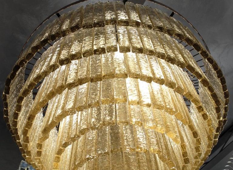 Italian Round Nine Tiers Chandelier, 380 Murano Fume' Glass, 1990s, Metal Ring For Sale
