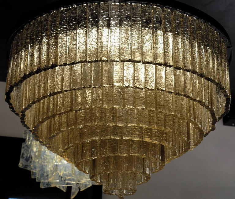 Art Glass Round Nine Tiers Chandelier, 380 Murano Fume' Glass, 1990s, Metal Ring For Sale