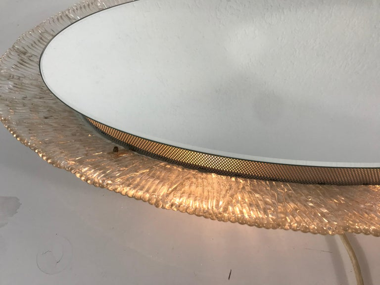 Round Acrylic Illuminated Mirror from Hillebrand Lighting, 1970s For Sale 4