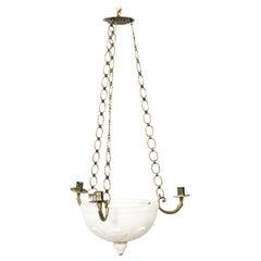 Round Alabaster and Brass Gustavian Chandelier