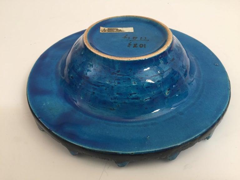 Aldo Londi Blue Ceramic Ashtray Handcrafted in Italy For Sale 1
