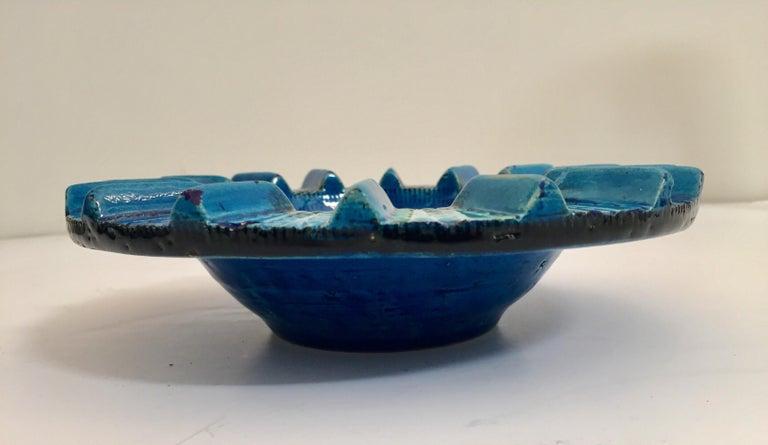 Aldo Londi Blue Ceramic Ashtray Handcrafted in Italy For Sale 3