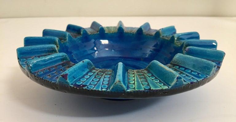Aldo Londi Blue Ceramic Ashtray Handcrafted in Italy For Sale 4