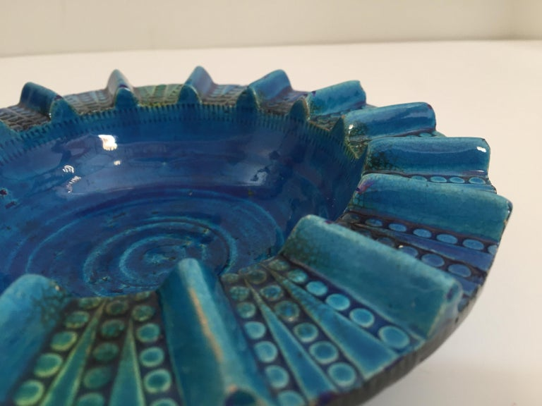 Aldo Londi Blue Ceramic Ashtray Handcrafted in Italy For Sale 7