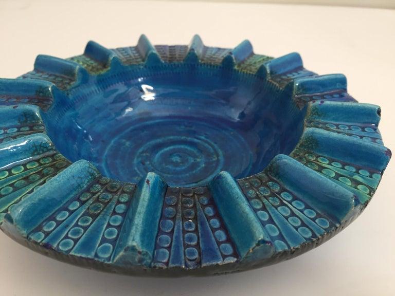 Aldo Londi Blue Ceramic Ashtray Handcrafted in Italy For Sale 9