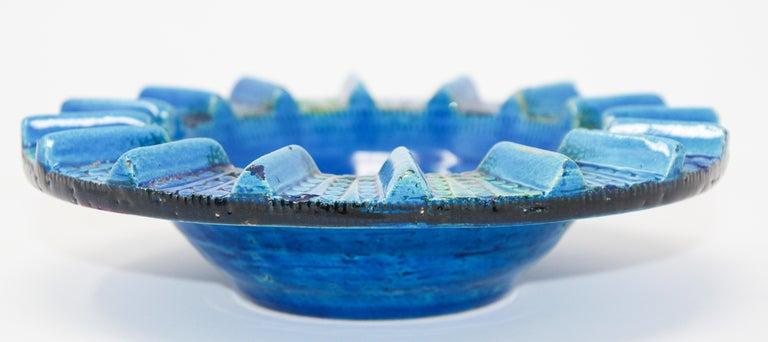Aldo Londi Blue Ceramic Ashtray Handcrafted in Italy For Sale 10
