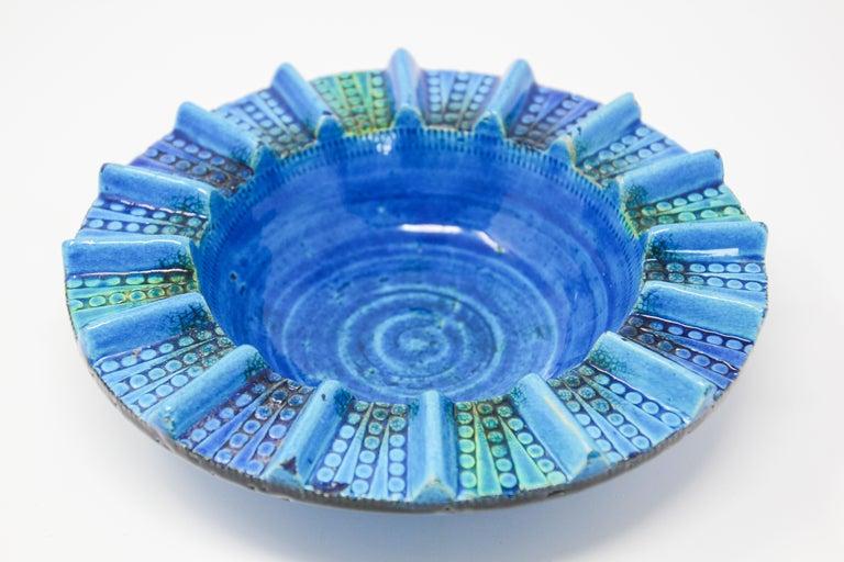 Aldo Londi Blue Ceramic Ashtray Handcrafted in Italy For Sale 11