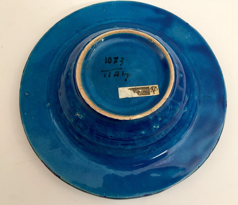 20th Century Aldo Londi Blue Ceramic Ashtray Handcrafted in Italy For Sale
