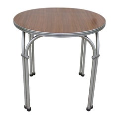 Round Aluminum and Walnut Side Table by Namco
