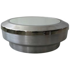 Round Aluminum Chrome and Mirror Drum Canister Coffee Table by GJ Neville