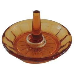 Round Amber Color Glass Ring Holder