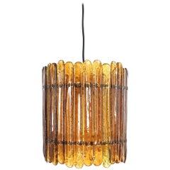Round Amber Glass Chandelier by Felipe Delfinger Feders, Midcentury