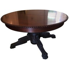 Round American Empire Pedestal Dining Table with Extension Leaf, 19th Century