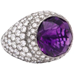 Round Amethyst and Pave Diamond Cocktail Ring