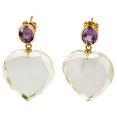Round Amethyst Heart Crystal Rock 18 Karat Yellow Gold Stud Dangle Stud Earrings