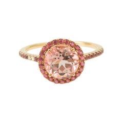 Round Amethyst Pink Sapphires Diamonds 18k Yellow Gold Ring