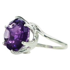 Round Amethyst Set in Sterling Silver Ring February Birthstone