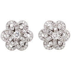 Round and Baguette Cut Diamonds 4.37 Ct Flower Inspired 18 Karat Gold Earrings