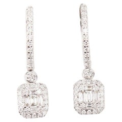 Round and Baguette Diamond Dangle Earrings 18 Carat White Gold