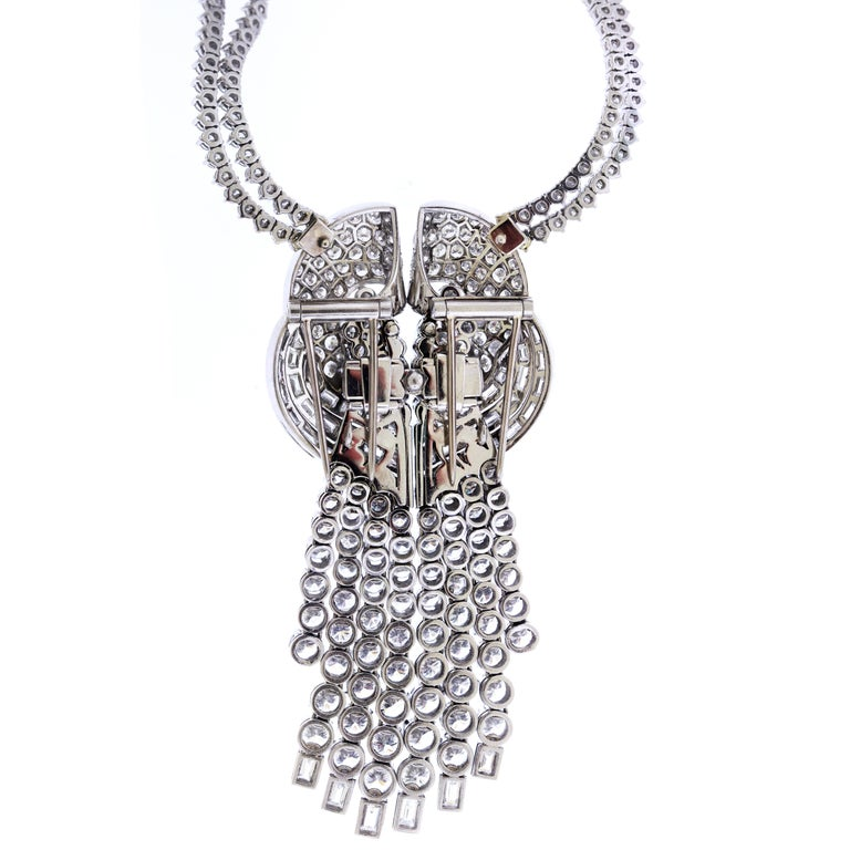 Diamond Pendant with Double Diamond Tennis Necklace In Excellent Condition For Sale In Boca Raton, FL