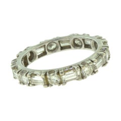 Round and Baguette Diamond Full Eternity Wedding White Gold Band Ring