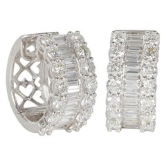 Round and Baguette Diamond Gold Huggie Hoop Earrings