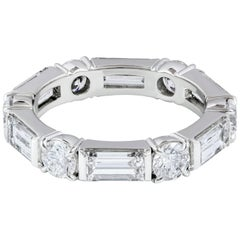 Round and Baguette Diamond Platinum Wedding Band