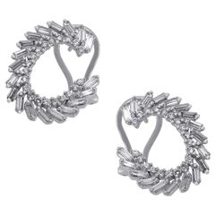 Round and Baguette Diamond Spiral Earrings