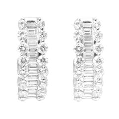 Round and Baguette Diamond White Gold Hoop Earrings