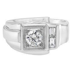 Round and Baguette Diamond White Gold Men's Ring